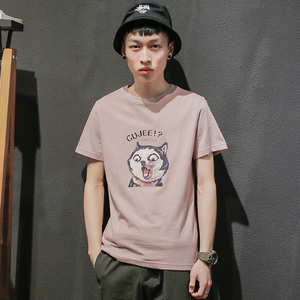 GBOY summer trend T-shirt men's short-sleeved Japanese cartoon print shirt cotton youth pure color washed round neck shi