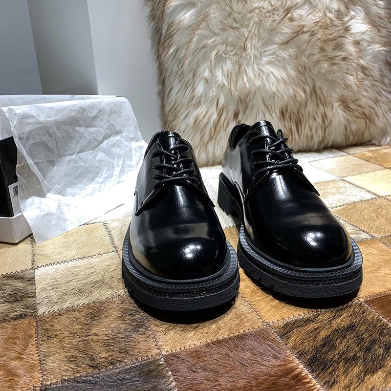 [¥141.17]DOMS小皮鞋女英伦风2020新款春秋季加绒鞋子黑色系带平底鞋女单鞋