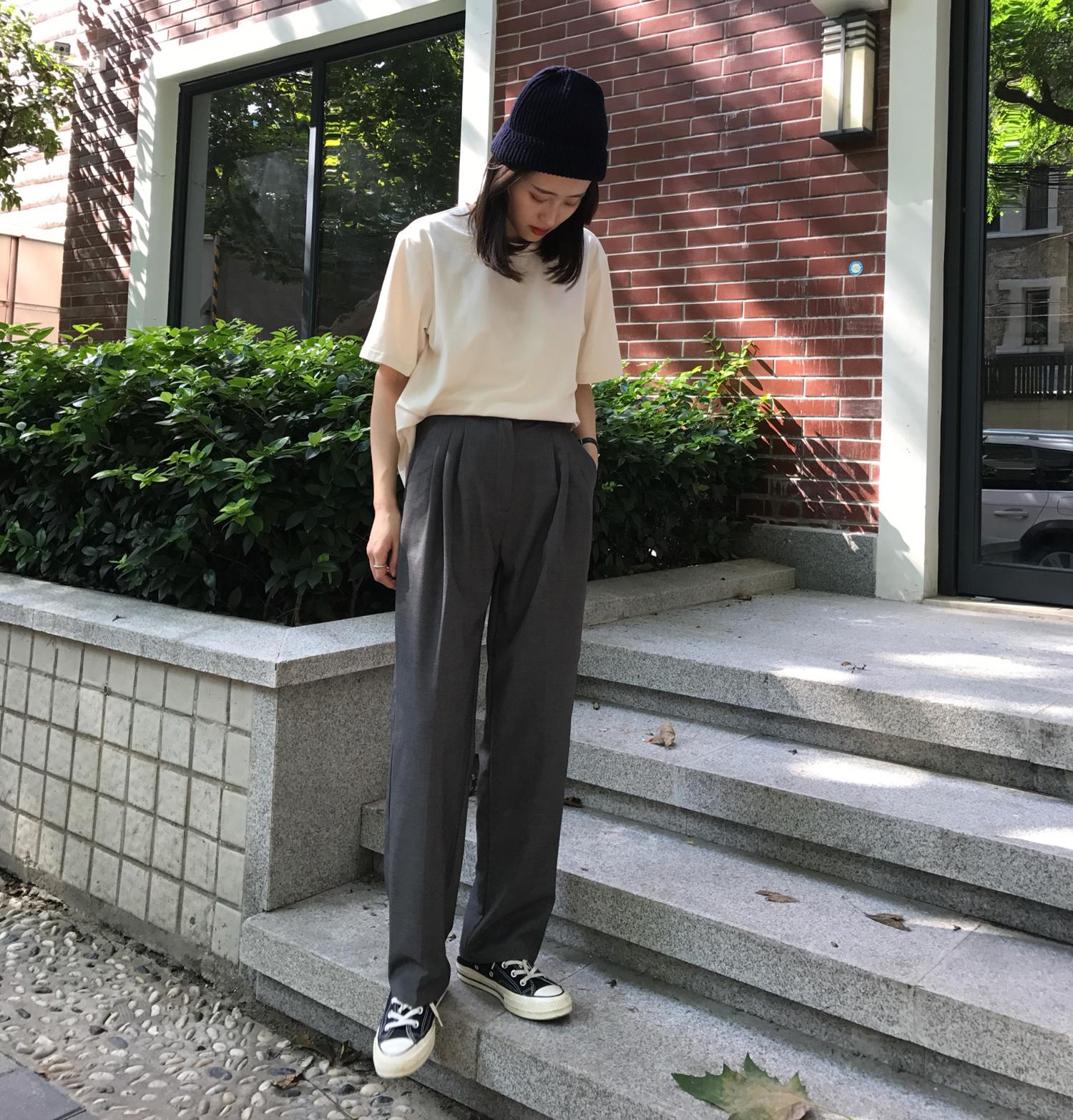 Motzu/自制 麻灰色高腰垂感西装裤女秋季新款…
