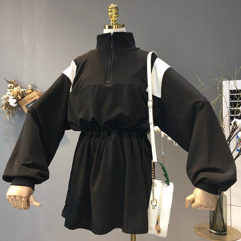 韩版2018早秋新款时尚百搭高腰宽松显瘦长袖半高领拼色连衣裙女