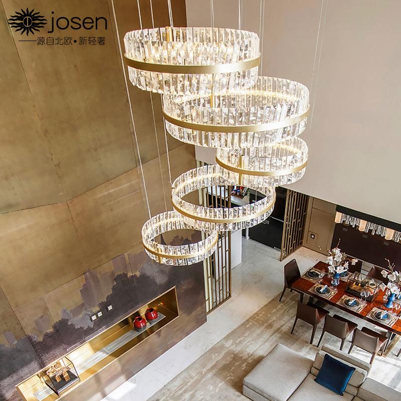 复式楼客厅水晶大吊灯轻奢别墅楼中楼梯圆形灯后现代简约大气灯具-josenlighting旗舰