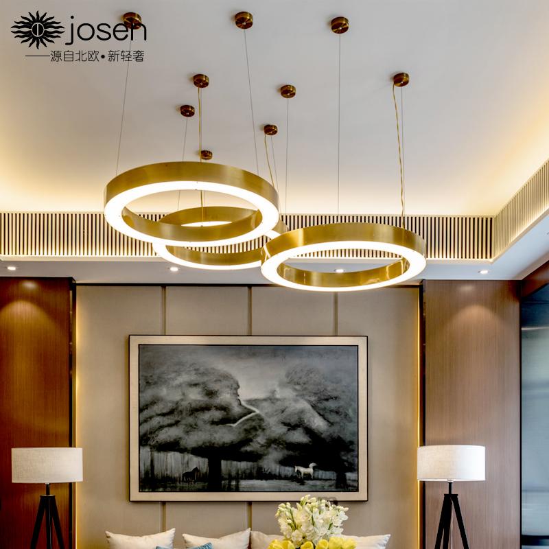 后现代LED圆形客厅餐厅灯具创意个性别墅轻奢灯酒店大堂简约吊灯-josenlighting旗舰