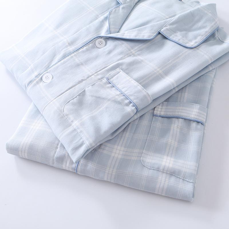 情侣睡衣套装男女春夏纯棉蓝色格纱布日式长袖无印短袖长裤家居服