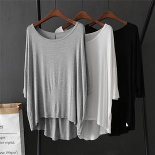 莫代尔长袖t恤女2020新款白色中长款宽松大码上衣黑色打底衫秋季图片
