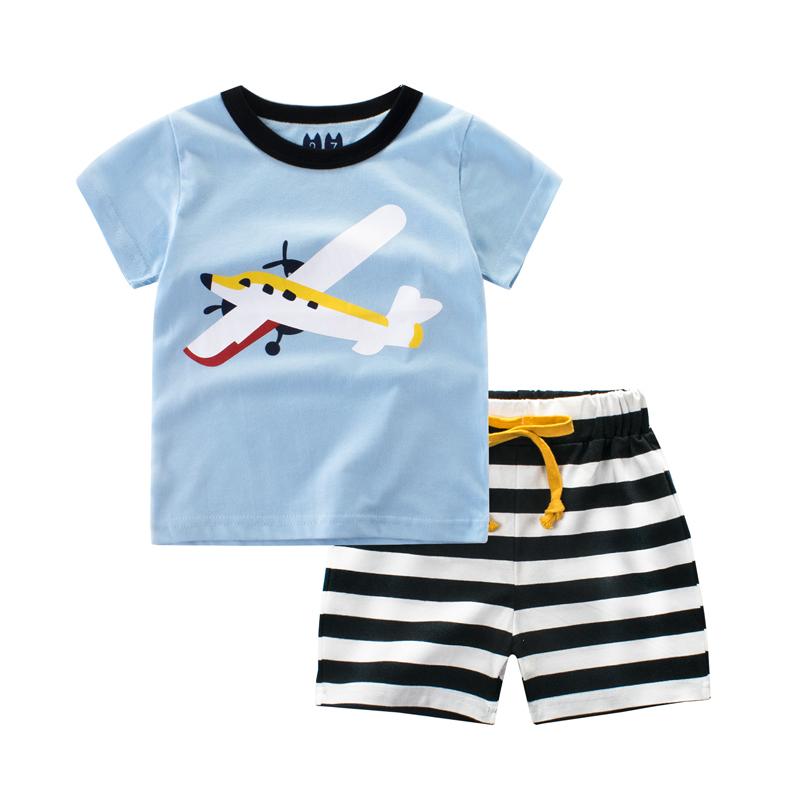 2018夏季儿童套装 男童中裤纯棉宝宝短袖T恤 夏天短裤条纹两件套