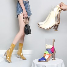 春夏秋冬季透明凉鞋糖果色亮片鞋dl12皮短靴od跟网红女鞋子