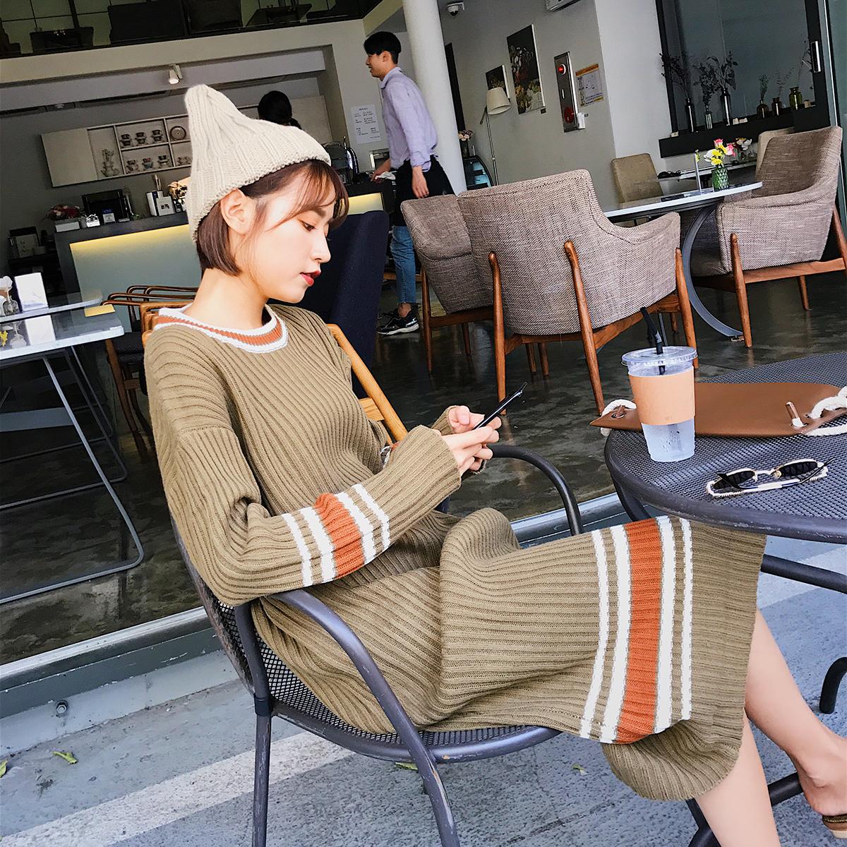 针织连衣裙秋冬季女 2017新款长袖 韩版宽松中长款过膝打底毛衣裙