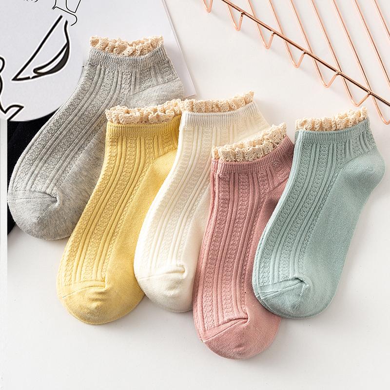 【精品纯棉】时尚四季袜子女复古蕾丝花边棉袜短袜糖果色短筒袜潮