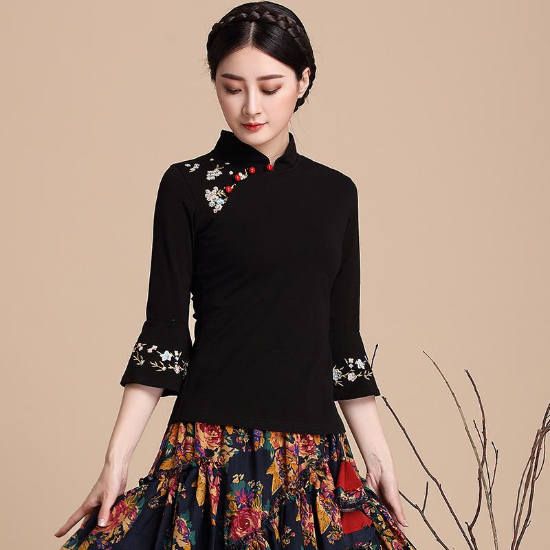 斯汀 夏季 中国 民族 刺绣 半袖 打底 T恤 女装 复古 上衣