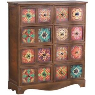 美式实木收纳柜复古彩绘多功能鞋柜
