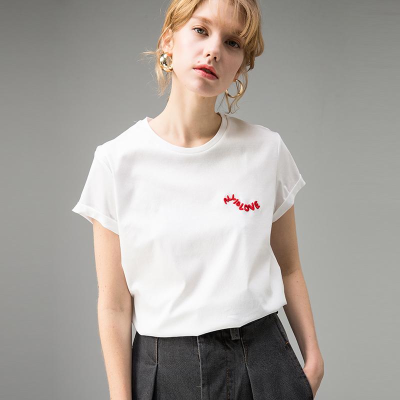 贝丽花园 15820 18春 撞色字母刺绣 套头圆领 宽松棉质短袖T恤