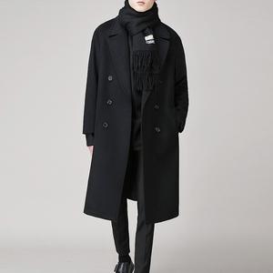 Winter Korean men's drop-shoulder woolen coat in the long section of the youth fleece trench coat men's thick woolen coat