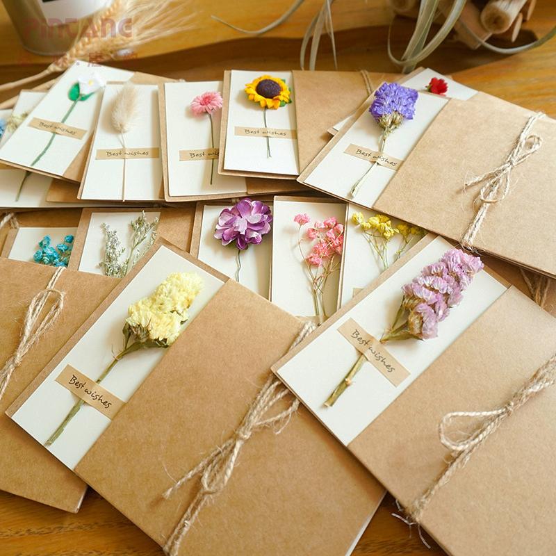 干花贺卡创意复古插卡牛皮纸手工感恩祝福生日情人节送礼物小卡片