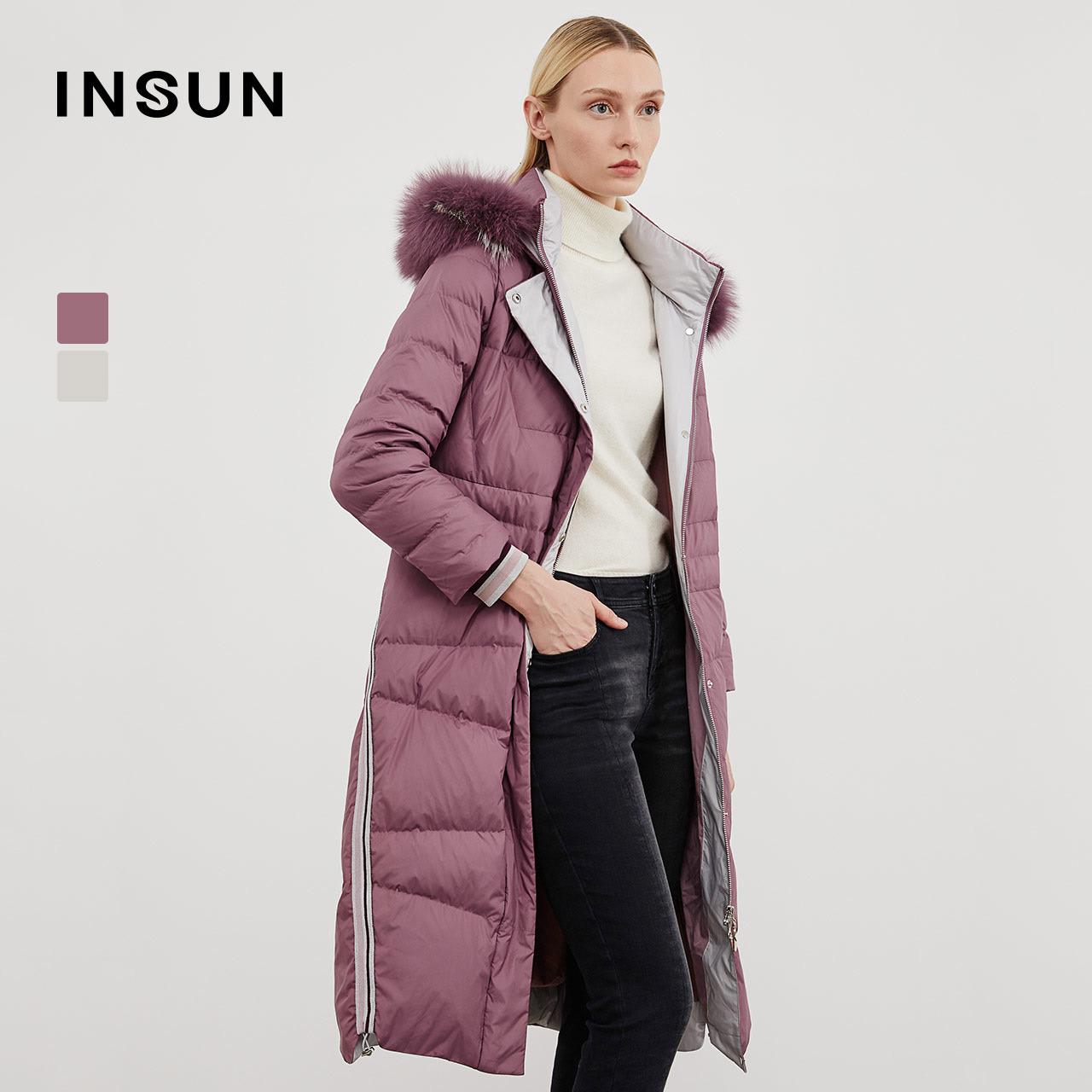 insun/恩裳保暖白鹅绒狐狸毛领羽绒服外套