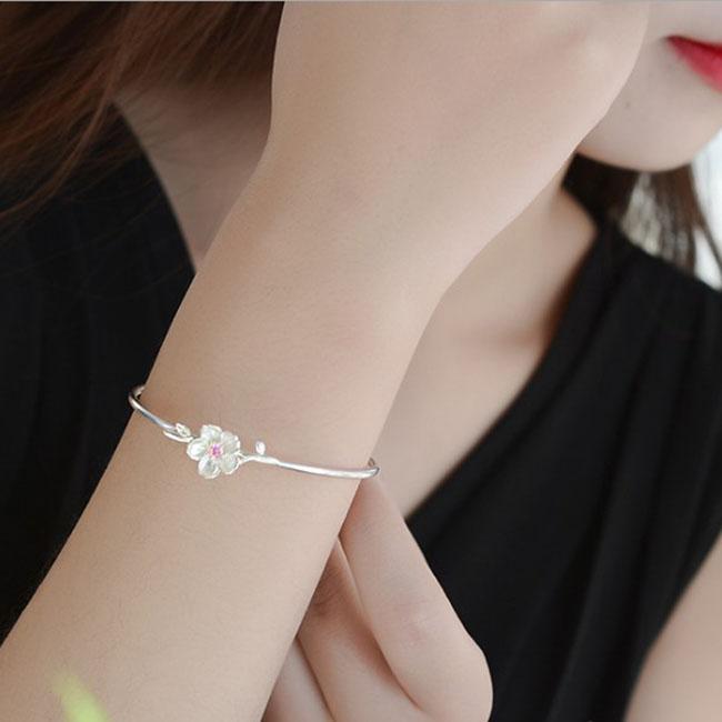 【买二送一】纯银满天星手镯手链首饰送女友妈妈礼物百搭樱花手环