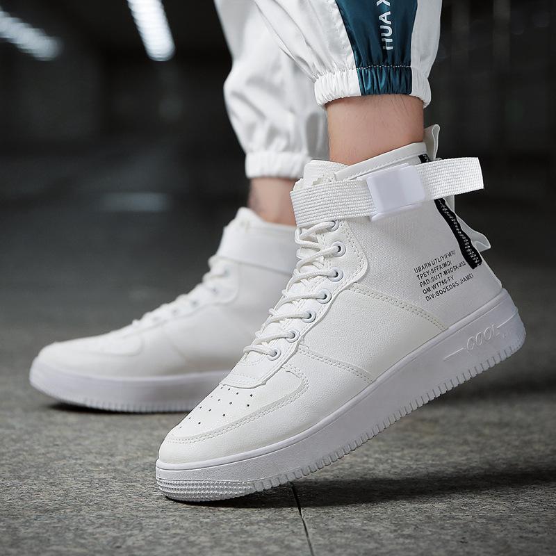 2018新款男鞋秋冬季透气高帮小白鞋男士白色运动板鞋嘻哈潮鞋子