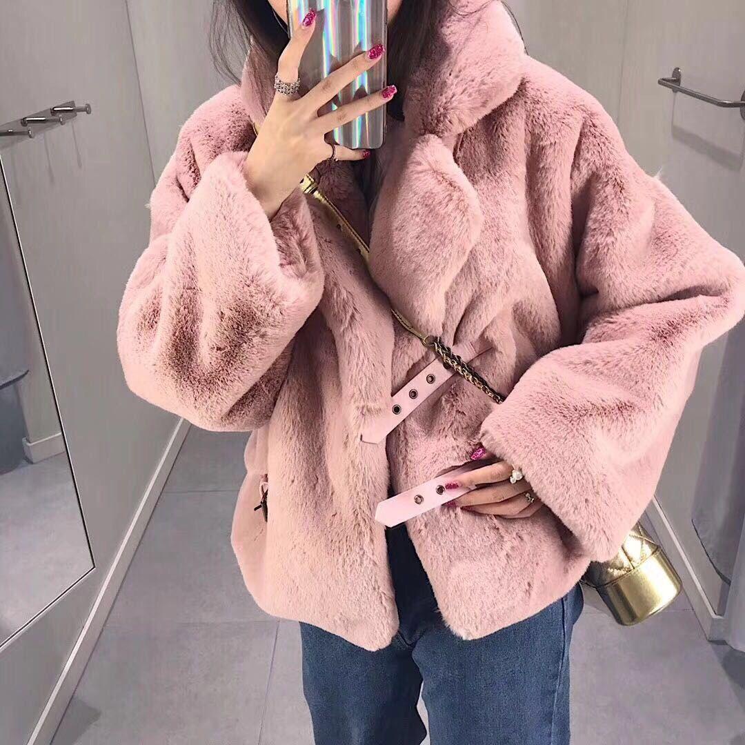 2018新款冬韩版女皮草外套中长款仿獭兔毛长袖宽松时尚毛毛上衣潮