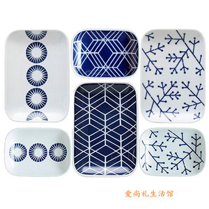 Imported from Japan Japanese geometric pattern ceramic tableware 6-piece set gift box kitchen utensil daily necessities