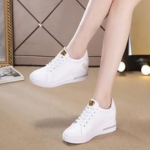 鞋子女2021新式内增高(小)白鞋ad12真皮百xt色运动鞋春季单鞋