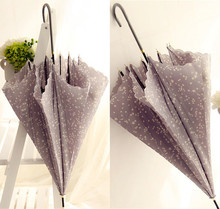 包邮日系甜美(小)清新长杆雨伞(小)ic11星图案dy拱形晴雨伞女的