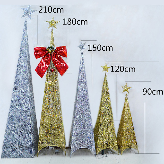 customized christmas decorations package iron christmas tree silver gold quadrilateral tree tree iron tree tree iron - Iron Christmas Tree