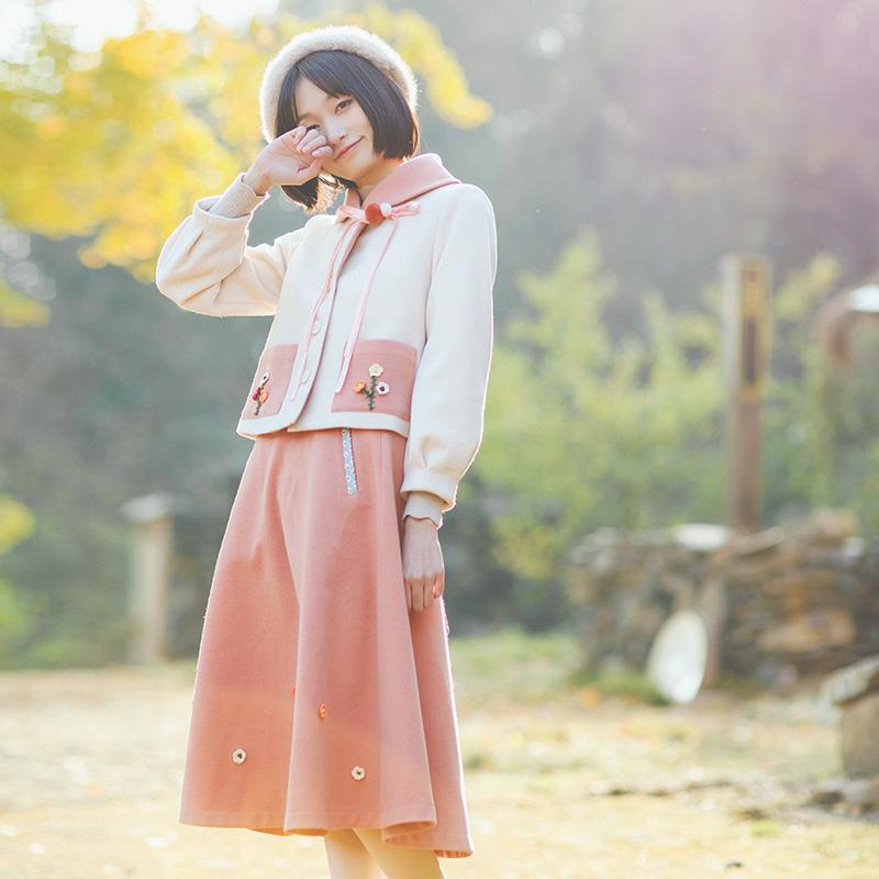 花间裳/山楂树/文艺保暖毛呢两件套装秋冬毛呢连衣裙套裙秋冬新
