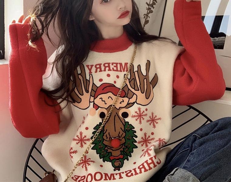 冬季新款复古小鹿卡通撞色圣诞插画网红套头宽松毛衣女
