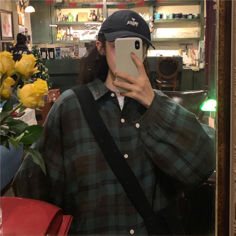 实拍实价~韩版宽松百搭复古格子中长款休闲长袖衬衫-多多服饰-