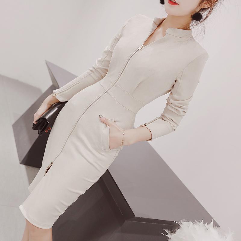 2017新款秋冬OL時尚修身拉鏈氣質包臀顯瘦打底女裝長袖連衣裙