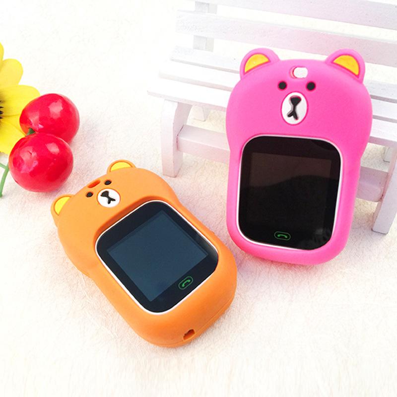 儿童定位电话手表表套 防水硅胶表带保护套挂绳挂坠兔子耳朵小熊