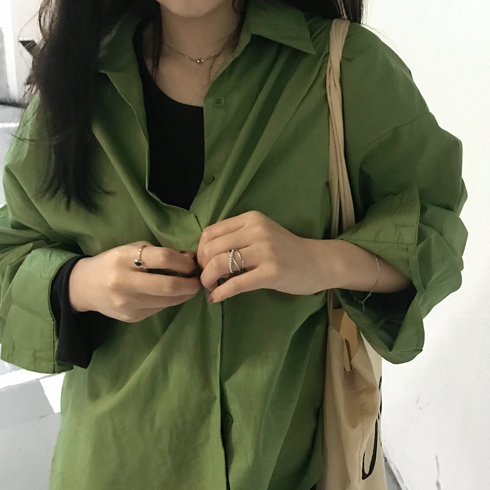 kumayes自制 2019春夏新款气质绿色宽松显瘦衬衣韩版休闲防晒衬衫
