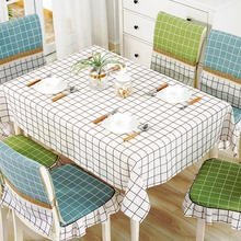 桌布布艺长方形格子餐桌zh8北欧inmi垫套装台布茶几布椅子套