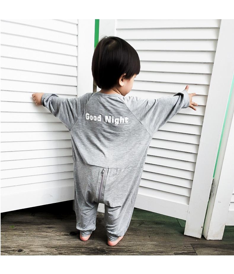 定制男女童家居服童装连体衣婴幼儿长袖睡衣宝宝秋冬季莫代尔睡袋