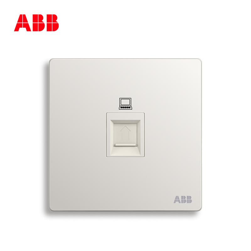 ABB开关插座无框轩致雅典白墙壁86型插座面板6类电脑插座AF333