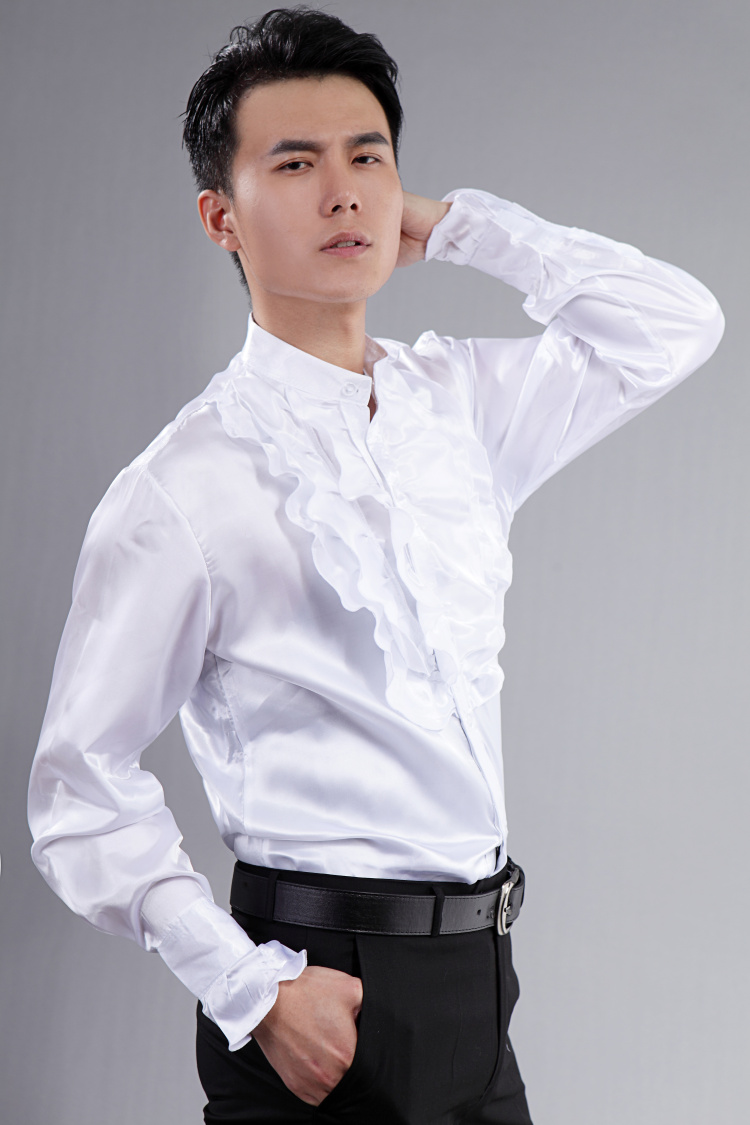 Men Frill Party Ruffle Shirt Satin Collar Fancy Dance