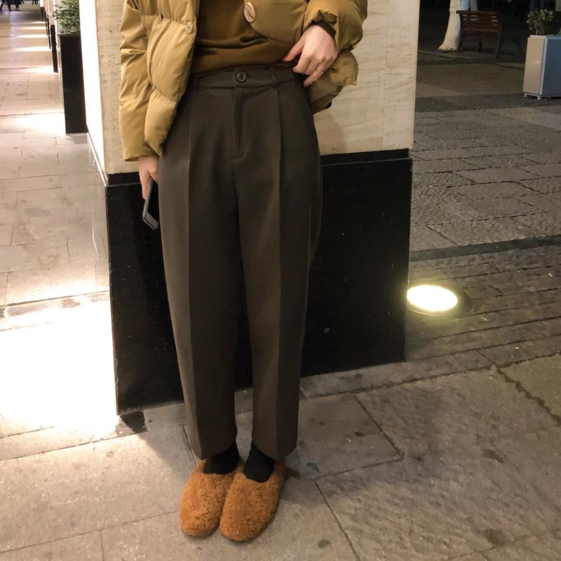 佳哥的店2019冬装新款韩版chic百搭显瘦高腰呢料西装裤烟管裤女冬