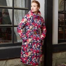 俄罗斯高端印花正id5牌加大码am加长式羽绒服女加厚冬季外套