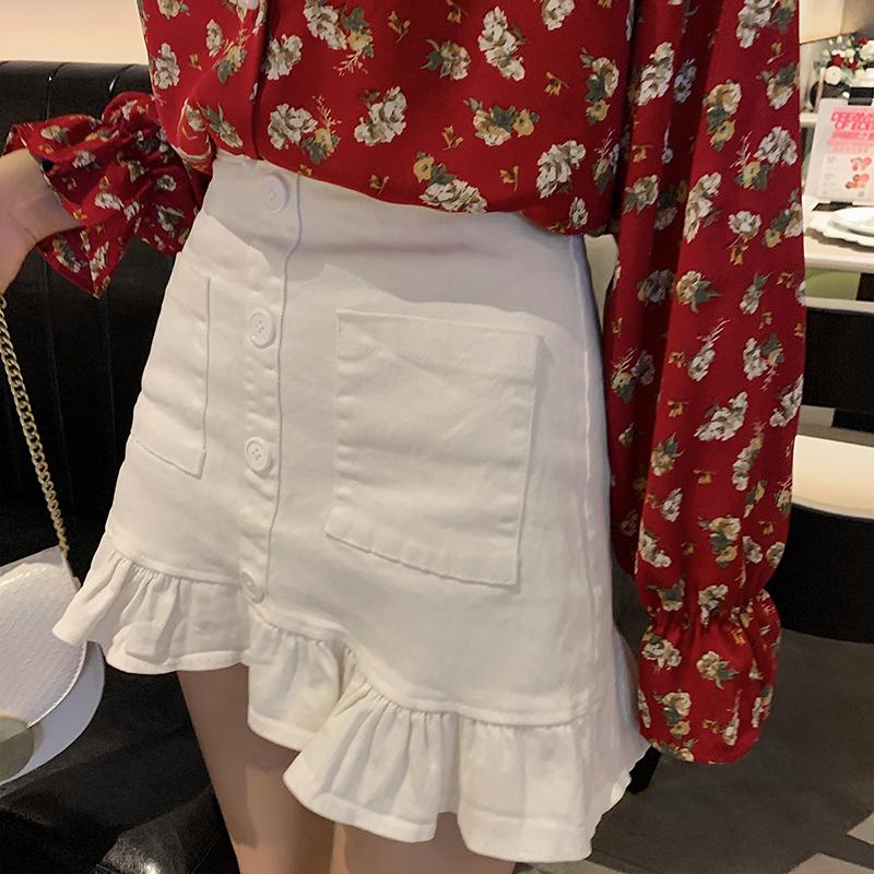 实拍 高腰半身裙女2020春季新款韩版时尚短裙包臀裙鱼尾裙F3187 -