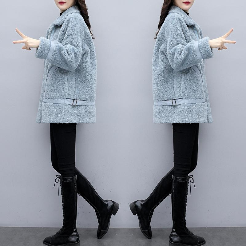羊羔绒短款小香风外套女2019冬季新款韩版宽松气质流行毛呢大衣潮