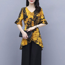时尚女装花色上衣2021年夏季ai12款大码ou中长款阔太太衬衫