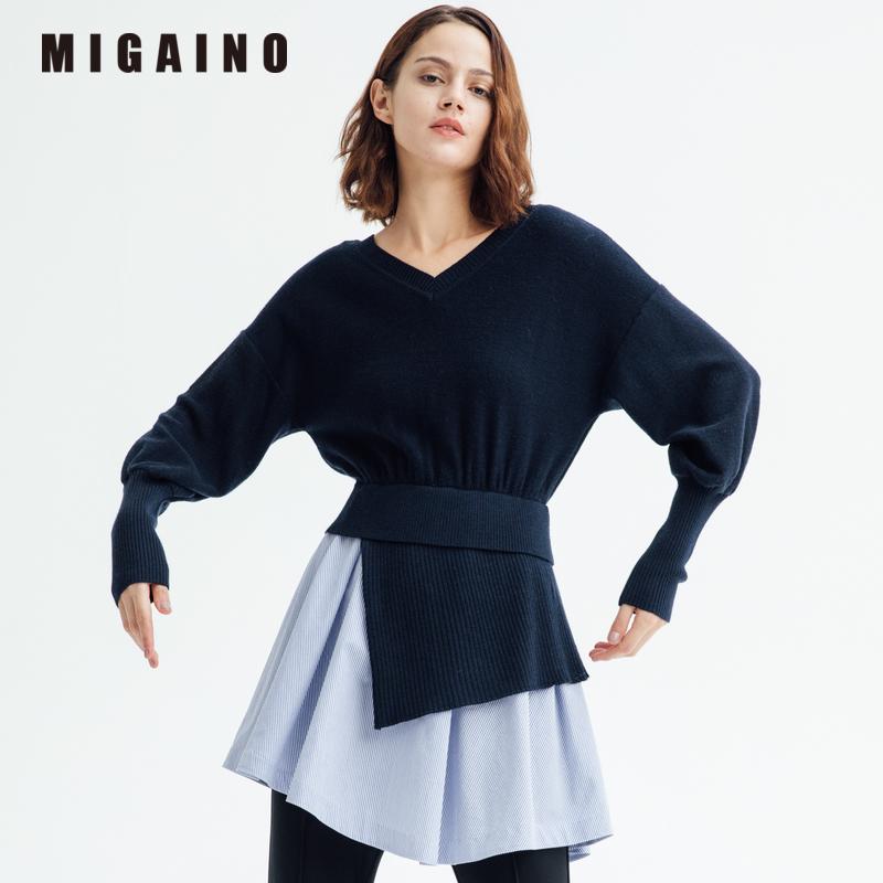 曼娅奴商场同款2017冬新款针织拼接不规则假两件连衣裙MH43DW210