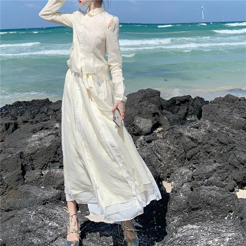 2020春季新款韩版法式欧根纱宫廷风斜扣外套+高腰中长款半身裙女