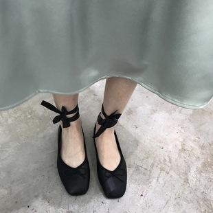 韩国东大门方头复古蝴蝶结绑带平底芭蕾鞋浅口chic小单鞋复古两穿