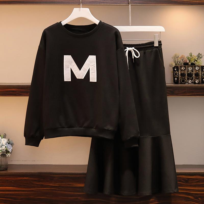实拍2020春装新款韩版大码胖mm加肥加大时尚刺绣显瘦套装裙-欧诺拉衣橱-