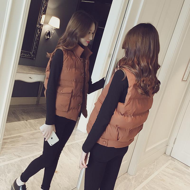 2017冬季新款韩国修身显瘦时尚立领单排扣短款棉马夹女无袖外套