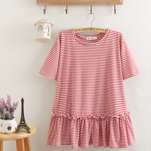 2021夏装新式女装针织棉200斤条纹ku16气娃娃an码短袖T恤女