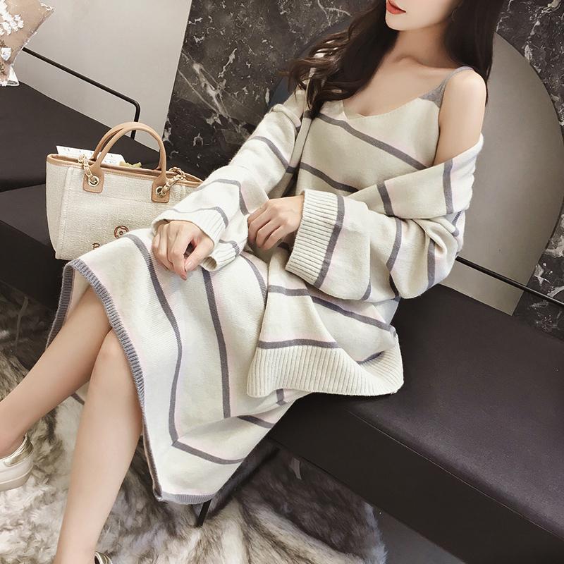 2018新款时尚秋装针织套装女韩版宽松慵懒中长款毛衣背心裙两件套