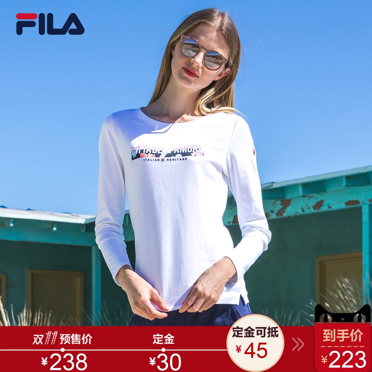【预售】FILA斐乐女运动T恤新款纯棉长袖圆领透气休闲跑步运动服