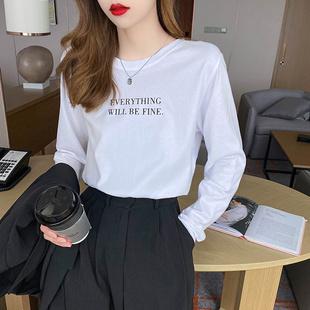 白色长袖t恤女装2020新款打底衫内搭韩版宽松黑色纯棉上衣春秋季图片