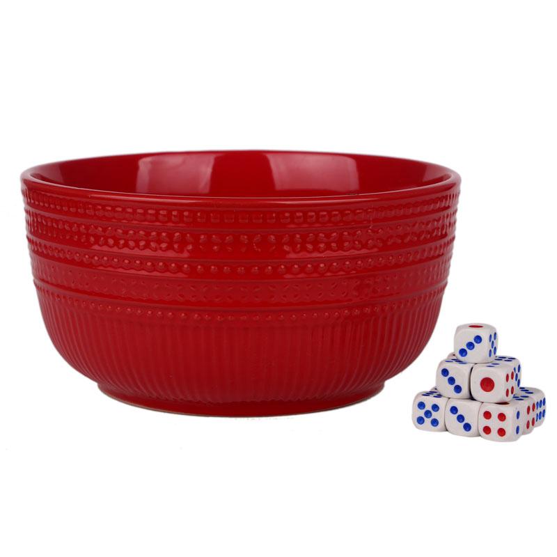 中秋博饼碗大红色陶瓷盘状元碗红碗骰子汤碗面碗菜碗快餐婚庆包邮
